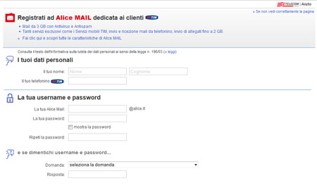 Creare un account Alice Mail