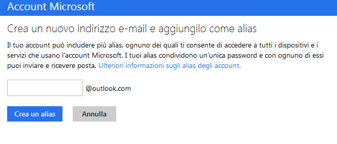 Come creare un alias su Outlook.com / Hotmail