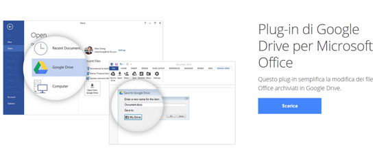 Plug-in di Google Drive per Microsoft Office