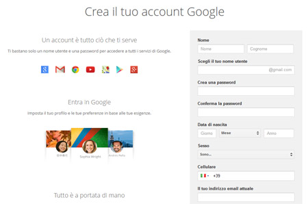 Creare un account Gmail